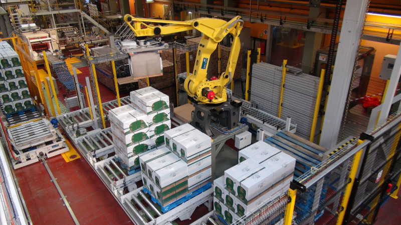 Case handling and palletizing system at Nestle